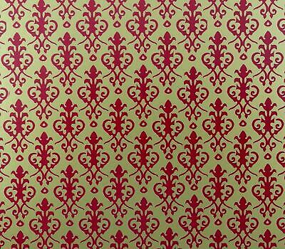 Dolls House Victorian Red on Gold Miniature Print 1:12 Scale Wallpaper