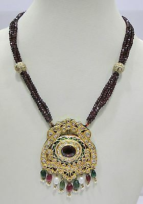Vintage antique 20K solid Gold jewelry Diamond polki Necklace pendant india