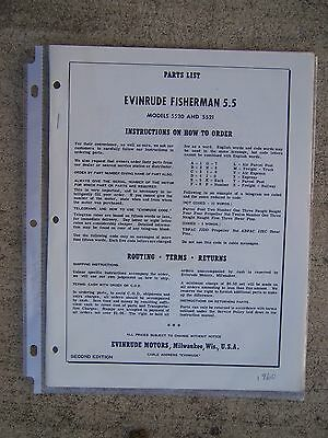 1960 Evinrude Fisherman 5.5 HP 5520 5521 Outboard Parts List MORE IN OUR STORE U