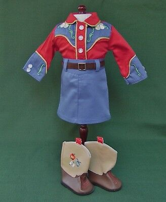 "American Girl 18"" MOLLY DUDE RANCH EMBROIDERED COWGIRL OUTFIT with BOOTS REPRO"