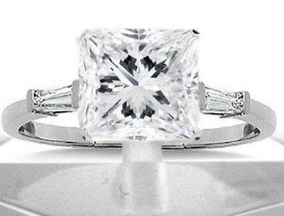 3 carat, 2.78 ct Princess cut Diamond Engagement 14k Gold Ring with 2 baguettes