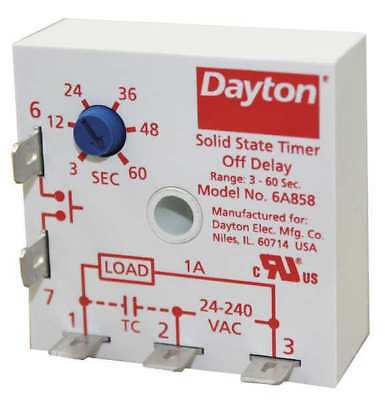 DAYTON 6A858 Encapsulated Timer Relay, 60sec, 5 Pin, 1NO
