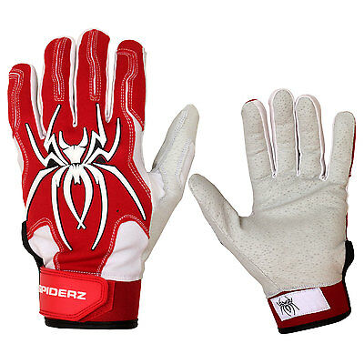 Spiderz Endite Hybrid Adult Baseball/Softball Batting Gloves - Red/White - XL
