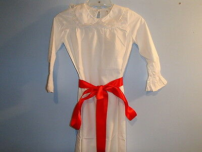 Swedish Lucia Dress with Red Sash  Girls Sizes 7-8, 10-12 or 14 year