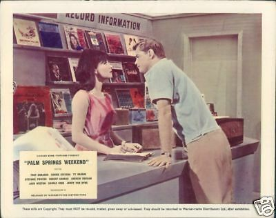 Palm Springs Weekend Stefanie Powers Troy Donahue Lobby Card In Record Store