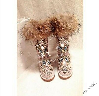 New Womens Fur Winter Thicken Warm Knee Snow Boots rhinestone Shoes Size 4.5-11