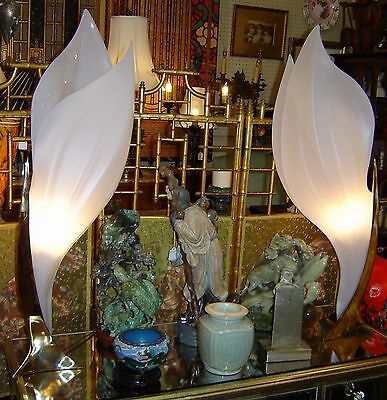 """Mid Century Pair of Rougier Tulip Lamps Perspex Acrylic and Brass Signed 39"""" H."""