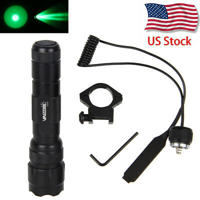 5000Lm Green LED Flashlight Torch Light Pressure Switch Gun Mount Hunting Rifle