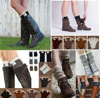 Fashion Womens Crochet Knit Lace Trim Leg Warmers Cuffs Toppers Boot Socks Nice