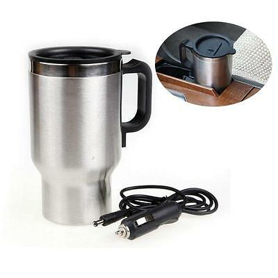 Stainless Steel Travel Outdoor Electric Mug Kettle Car Heated Warm 12V Truck OO