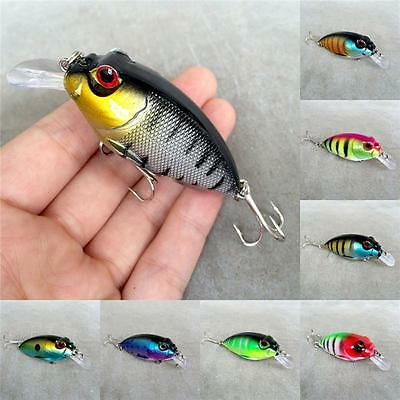 1pcs Plastic Fishing Lures Bass Fishing Crank Bait Tackle7cm/9.6g Multi Color BY