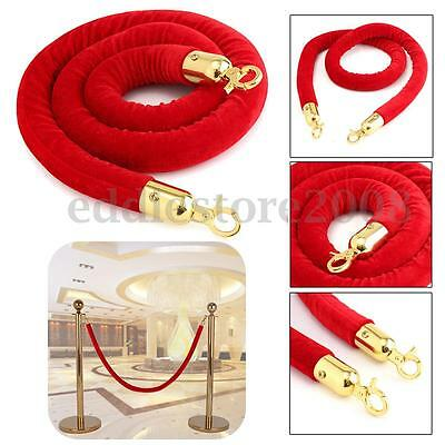 1.5m Red Velvet Rope Crowd Control Queue Line Barrier For Stanchion Post Belt