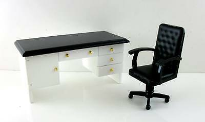 Dolls House Miniature Study Furniture White Wood Black Top Desk and Chair
