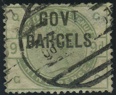 """SG O63 """"Govt Parcels"""" 9d dull green (G-Q), fine/very fine used example with circ"""