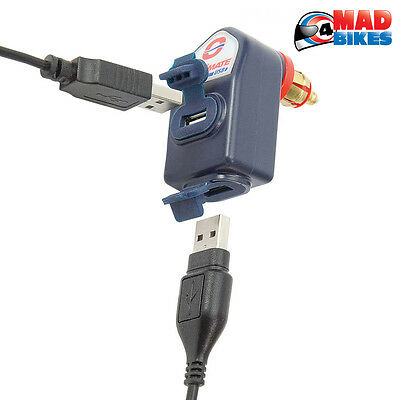 Optimate Twin outlet DIN to USB Charger for Triumph & BMW Motorcycles 12V