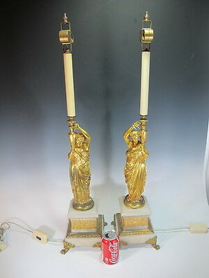 Antique French Pair of Bronze Figure Lamps on Marble Base - D6343