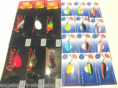 34tlg Spezial Set für den Forellensee Trout Spoon Forellenkiller Single Spin ...