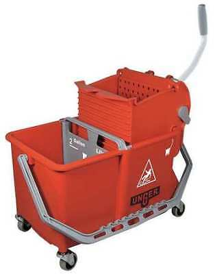 UNGER COMSR Mop Bucket with Wringer, 4 gal., Red
