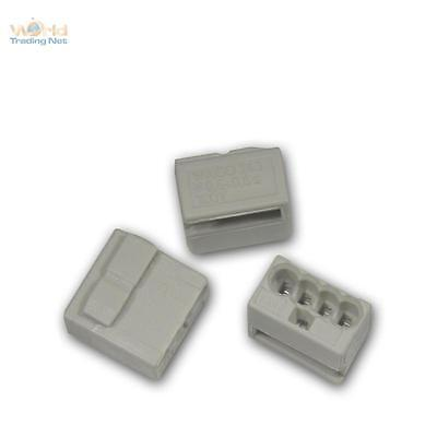 100 Piece Wago Micro Connectors 4 x 0,6 -0,8 mm ² - Grey Terminal Clamp