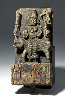 ARTEMIS GALLERY 17th C. Rare Indian Carved Wood Plaque w/ God