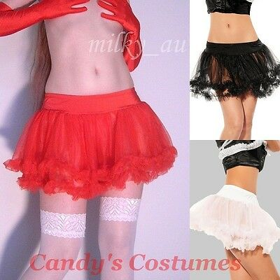 Short SOFT Ruffle TUTU Skirt PETTICOAT Costume BURLESQUE Black WHITE Red O/S