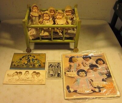 """Antique 1930's Effanbee Baby Tinyette Set Of 5 Dionne Quintuplets 7"""" Dolls USA"""