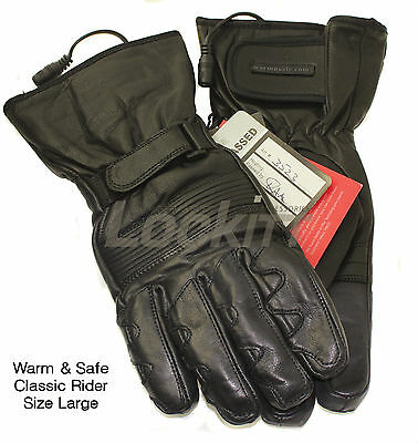 12v Heated Leather Motorcycle Gloves Warm & Safe (First Gear) Classic Rider