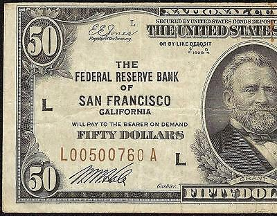 1929 $50 DOLLAR SAN FRANCISCO FRBN BANK NOTE NATIONAL CURRENCY MONEY Fr 1880-L