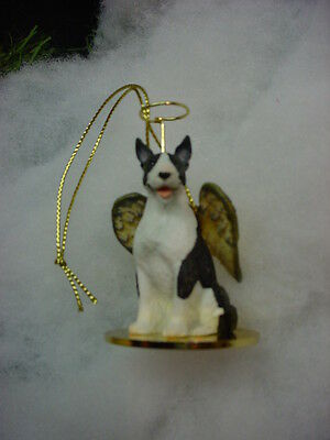 BULL TERRIER dog ANGEL Ornament Resin Figurine NEW Christmas Brindle White puppy