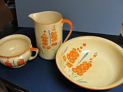 MYOTT, SON & CO. ENGLAND Wash Basin Pitcher and Chamber Pot VERY LARGE!!