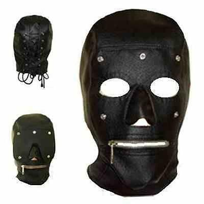 PU Full Hood Costume Zip Up Mouth & Eye Patch Club Adult BDSM Costume EH H007