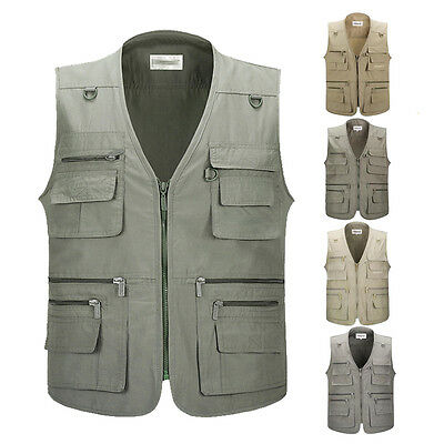 New Mens Multi Pocket Vest Fishing Hunting Travel Safari Outdoor Vest Waistcoat