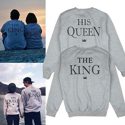 Lover Couple Matching Hoodies King and Queen Print Casual Pullover Sweatshirt