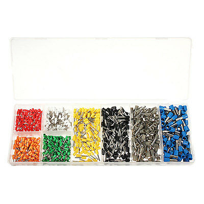 800Pcs Electrical Wire Crimp Connector Insulated Pin End Terminal Set Kit