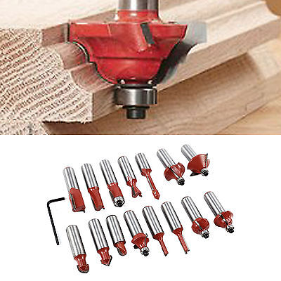 """New 15Pc 1/2"""" Professional Shank Tct Tipped Router Bit Set With Wooden Case Tool"""