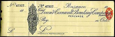 Devon & Cornwall Banking Company, Penzance. 18(96), with counterfoil, unused.