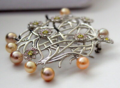 Aaaaa 5.1-6Mm Freshwater Pearl Brooches Sterling Silver