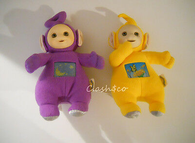 Telletubbies Vtg 1998 plush stuffed TUMMY GLOW light up Laa Laa & Tinky Winky