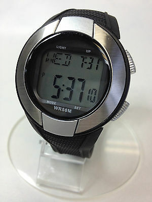 Digital LCD Heart Pulse Rate Sports Exercise Watch Alarm Date Strapless