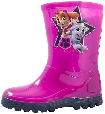Girls Paw Patrol Wellington Boots Pink Rain Wellies Mid Calf Snow Boots Size