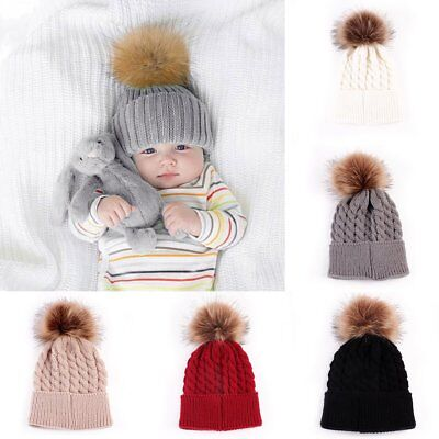 Infant Toddler Kid Baby Winter Warm Beanie Hat Knit Pom poms Beanie Ski Boy Cap