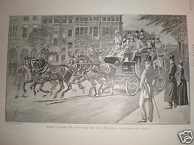 Modern Coaching Northumberland Avenue London print 1891