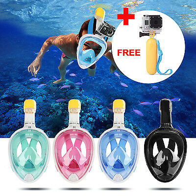 Swimming Full Face Mask Surface Diving Snorkel Scuba for GoPro + Hand Grip