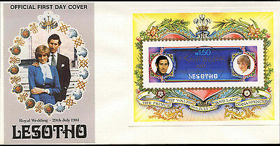 Lesotho 1981 Royal Wedding Princess Diana Imperf M/S FDC #C31238