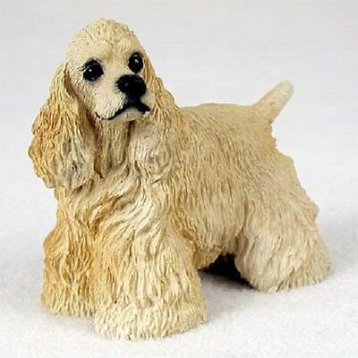 COCKER SPANIEL dog FIGURINE blond puppy HAND PAINTED COLLECTIBLE resin statue
