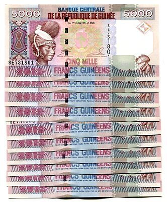 GUINEA 5000 FRANCS 2012 P-41b UNC LOT 10 PCS