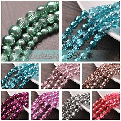NEW Shiny Silver Plated Round Crystal Glass Loose Spacer Beads 4mm 6mm 8mm