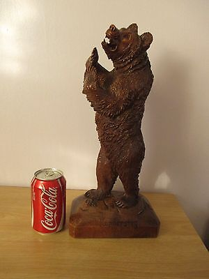 """Antique Large Quality 16"""" Black Forest Standing Bear Signed Wood Carving Swiss"""