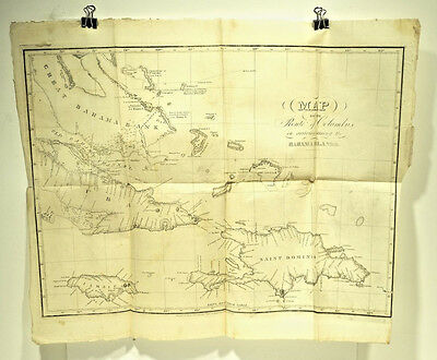 1828 Antique Map Route of Columbus in Bahamas Cuba Haiti Jamaica