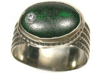 17thC Russian Ukraine Crimean Tatars Silver Ring Tourmaline Green Glass Gem Sz8½